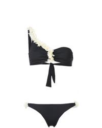 schwarzes Bikinioberteil mit Blumenmuster von La Reveche