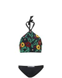 schwarzes Bikinioberteil mit Blumenmuster von Patbo