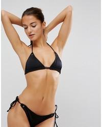 schwarzes Bikinioberteil mit Lochstickerei von Asos