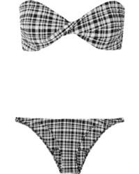 schwarzes Bikinioberteil mit Schottenmuster von Lisa Marie Fernandez