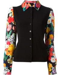 schwarzes Businesshemd mit Blumenmuster von Moschino
