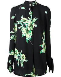 schwarzes Businesshemd mit Blumenmuster von Proenza Schouler
