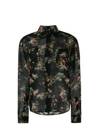 schwarzes Businesshemd mit Blumenmuster von Saint Laurent
