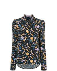 schwarzes Businesshemd mit Blumenmuster von See by Chloe