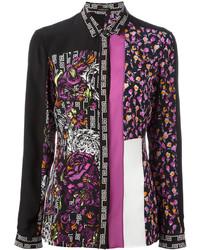 schwarzes Businesshemd mit Blumenmuster von Versace