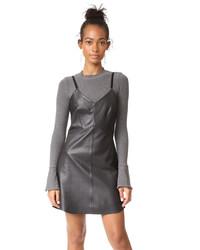 schwarzes Camisole-Kleid aus Leder