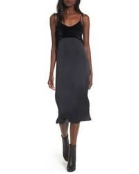 schwarzes Camisole-Kleid aus Satin