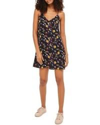 schwarzes Camisole-Kleid mit Blumenmuster