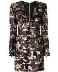 schwarzes Camouflage Paillettenkleid von Balmain