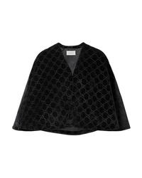 schwarzes Cape-Blazer aus Samt von Gucci