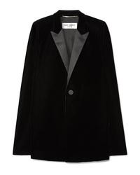 schwarzes Cape-Blazer aus Samt von Saint Laurent
