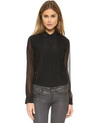 schwarzes Chiffon Businesshemd von DKNY