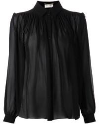schwarzes Chiffon Businesshemd von Saint Laurent