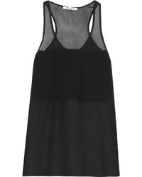 schwarzes Chiffon Trägershirt