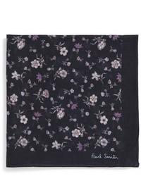 schwarzes Einstecktuch mit Blumenmuster