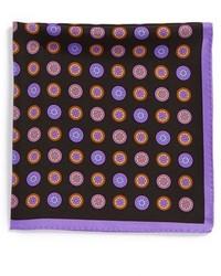 schwarzes Einstecktuch mit geometrischen Mustern