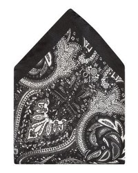 schwarzes Einstecktuch mit Paisley-Muster von Eton