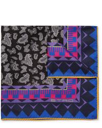 schwarzes Einstecktuch mit Paisley-Muster von Etro