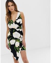 schwarzes figurbetontes Kleid mit Blumenmuster von AX Paris