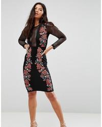 schwarzes figurbetontes Kleid mit Blumenmuster von Club L