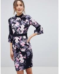 schwarzes figurbetontes Kleid mit Blumenmuster von Paper Dolls