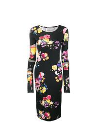 schwarzes figurbetontes Kleid mit Blumenmuster von Preen by Thornton Bregazzi