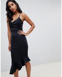 schwarzes figurbetontes Kleid mit Rüschen von ASOS DESIGN