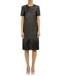 schwarzes Fransen gerade geschnittenes Kleid aus Leder