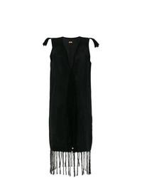 schwarzes Fransen Wickelkleid von Caravana