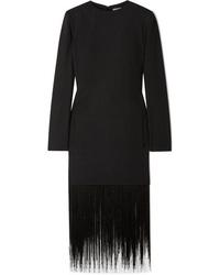 schwarzes Wollgerade geschnittenes kleid mit Fransen von Givenchy