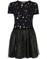 schwarzes Freizeitkleid mit Sternenmuster von RED Valentino