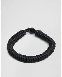 schwarzes geflochtenes Armband von Jack and Jones