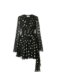 schwarzes gepunktetes ausgestelltes Kleid von Saint Laurent