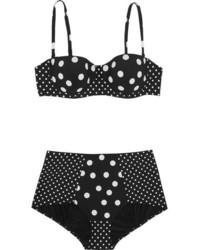 schwarzes gepunktetes Bikinioberteil von Dolce & Gabbana
