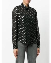 schwarzes gepunktetes Businesshemd von Saint Laurent