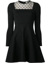 schwarzes gepunktetes Cocktailkleid aus Netzstoff von Saint Laurent