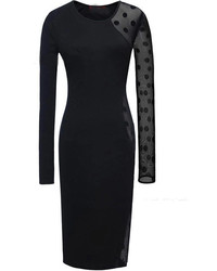 schwarzes gepunktetes figurbetontes Kleid