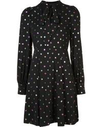 schwarzes gepunktetes gerade geschnittenes Kleid aus Seide von Marc Jacobs