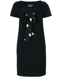 schwarzes gepunktetes gerade geschnittenes Kleid aus Seide von Moschino