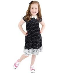 schwarzes gepunktetes Kleid