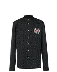 schwarzes gepunktetes Langarmhemd von Balmain