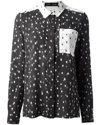 schwarzes gepunktetes Seide Businesshemd von Proenza Schouler