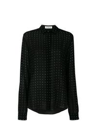 schwarzes gepunktetes Seide Businesshemd von Saint Laurent
