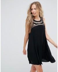 schwarzes gerade geschnittenes Kleid aus Häkel von Bellfield