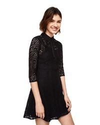 schwarzes gerade geschnittenes Kleid aus Häkel von Mango