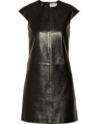 schwarzes gerade geschnittenes Kleid aus Leder