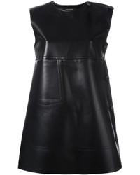 Schwarzes Gerade Geschnittenes Kleid aus Leder von Cédric Charlier