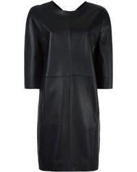 schwarzes gerade geschnittenes Kleid aus Leder von Maison Margiela