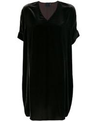 schwarzes gerade geschnittenes Kleid aus Samt von Aspesi