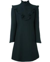 schwarzes gerade geschnittenes Kleid aus Seide mit Rüschen von Fendi